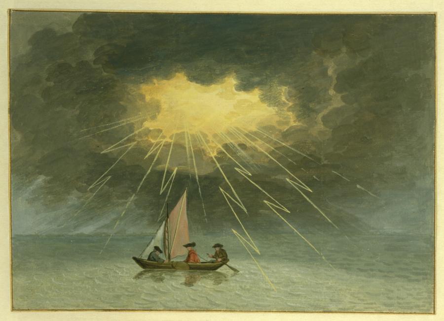 Onweersbui tijdens de overtocht van Gorinchem naar Lage Zwaluwe op 25 augustus 1770