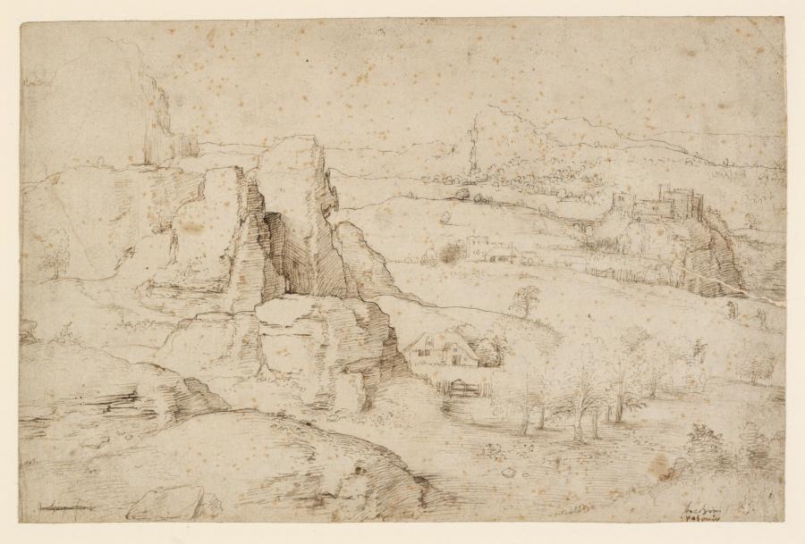 Weids berglandschap met rotspartij