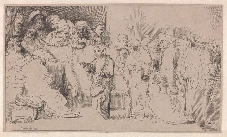 Christus discussieert met de schriftgeleerden in de tempel