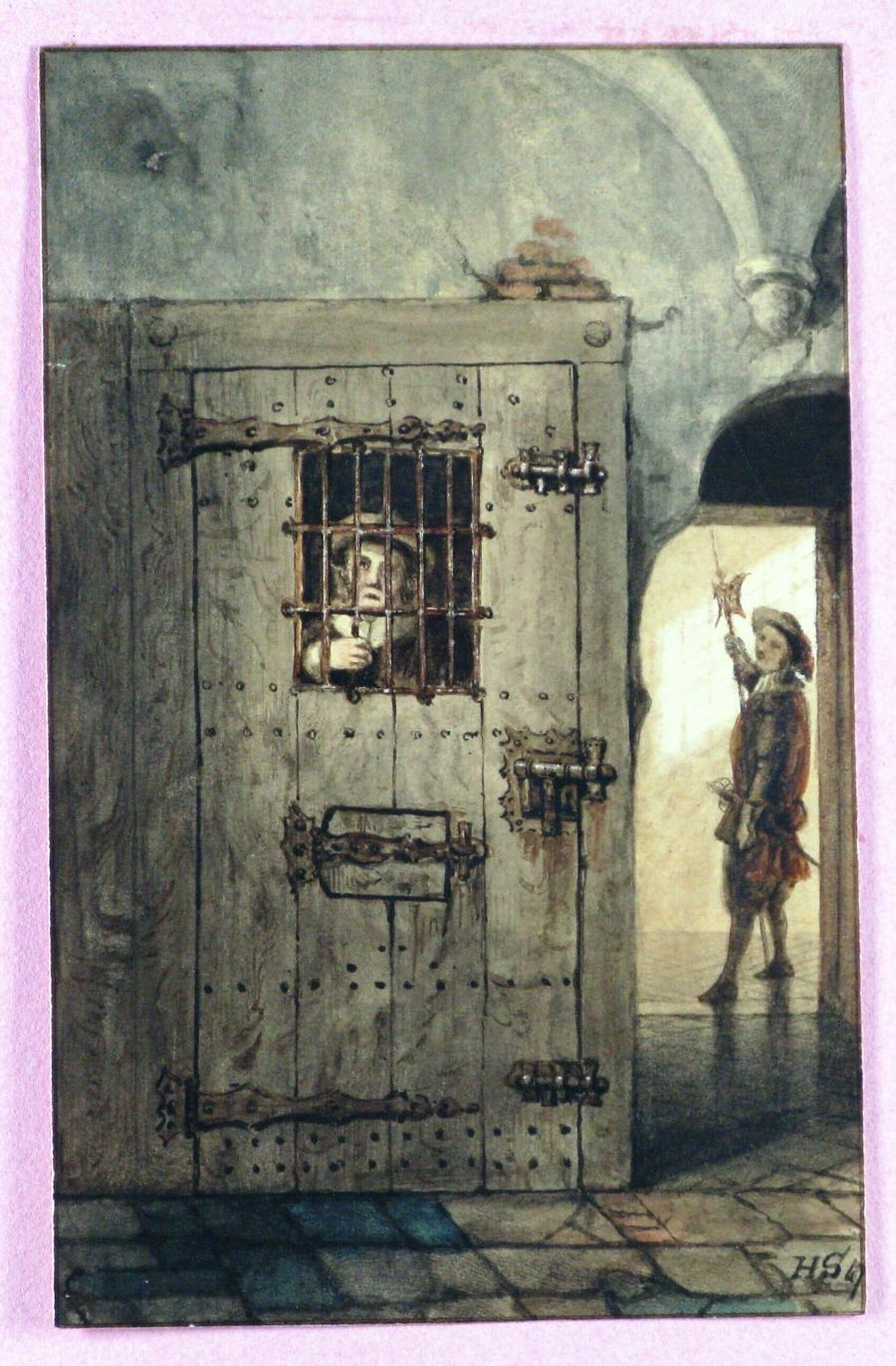 Gevangene in kerker met rechts een bewaker in historische kleding
