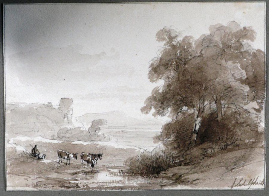 Bebost rivierlandschap met een herder en drie koeien