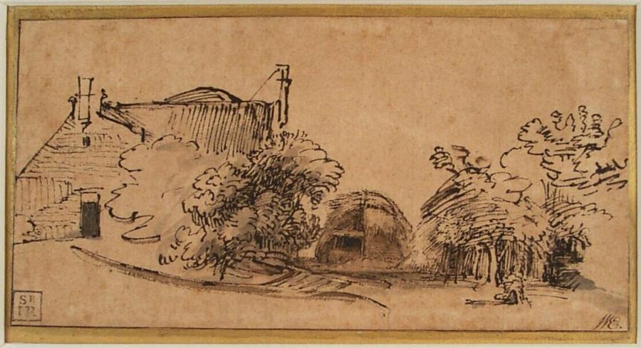 Boerderij met hooiberg tussen bomen