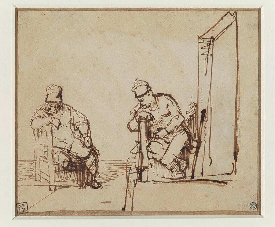 Two Studies of a Man Sitting on a Chair