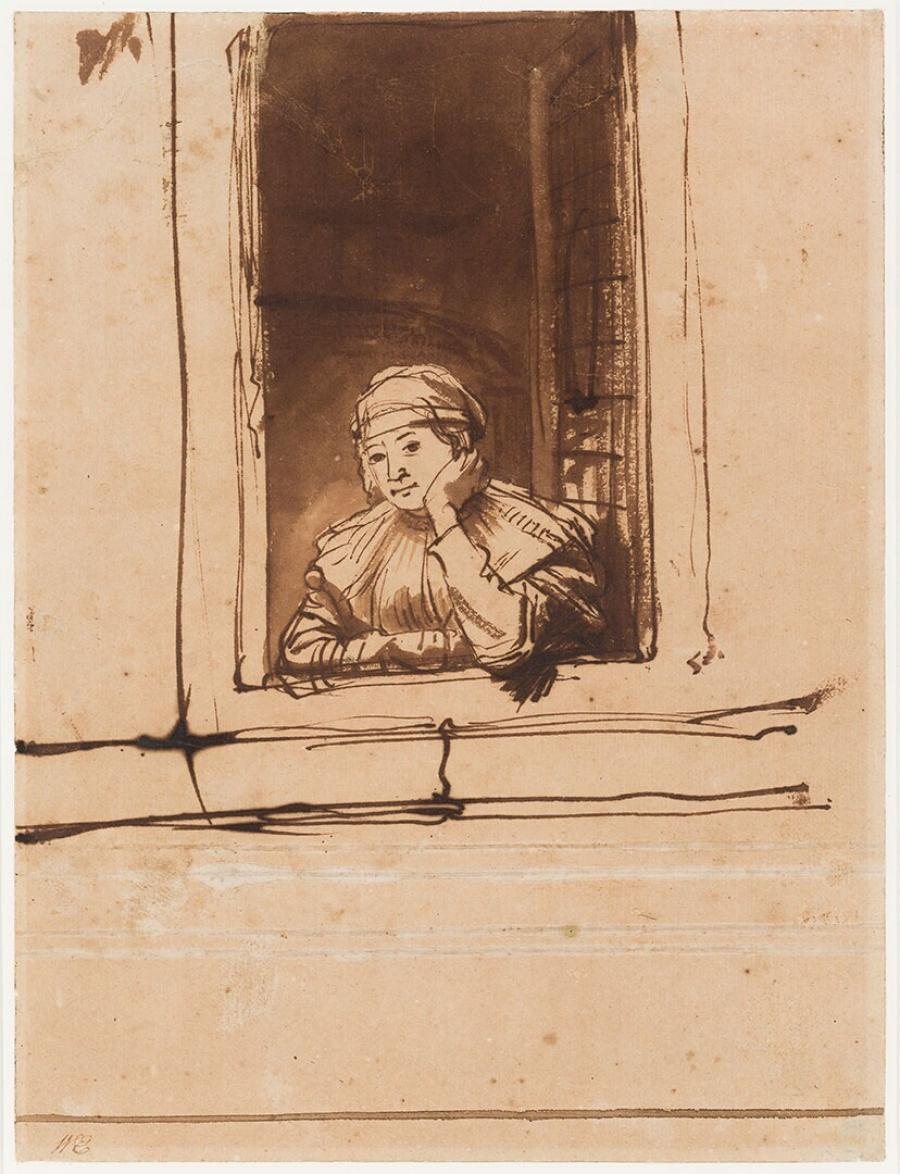 Rembrandt's Wife Saskia Uylenburgh at the Open Window