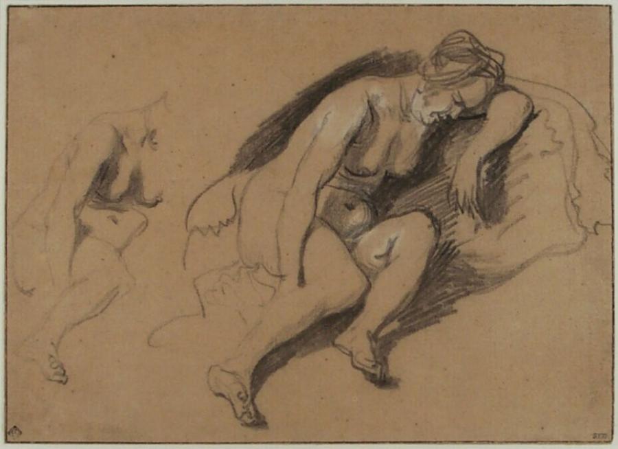 Twee studies van een zittende naakte vrouw