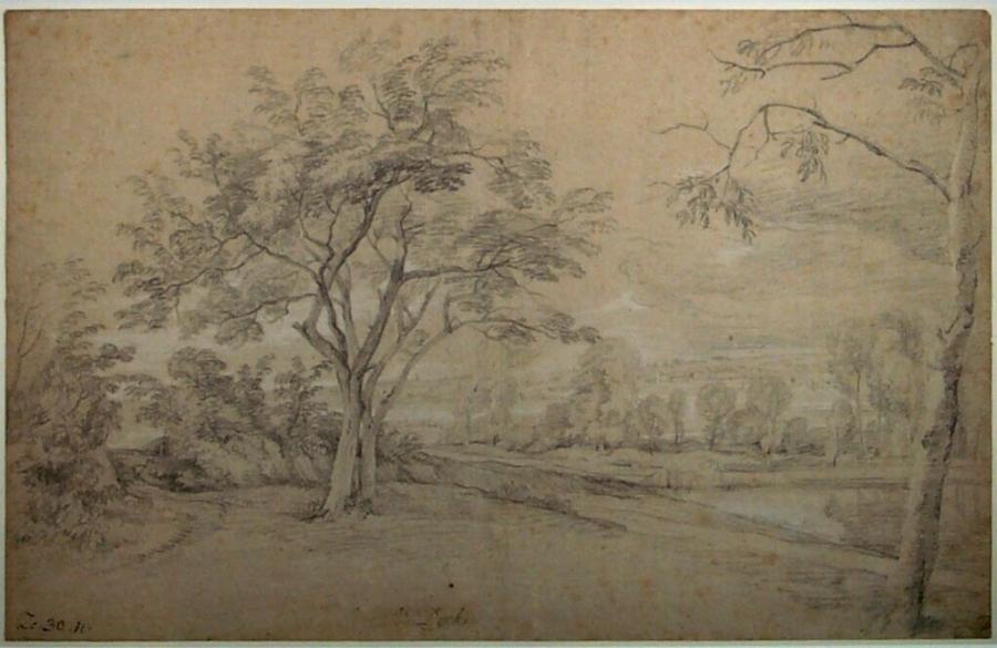 Heuvelachtig landschap met bomen aan een rivieroever