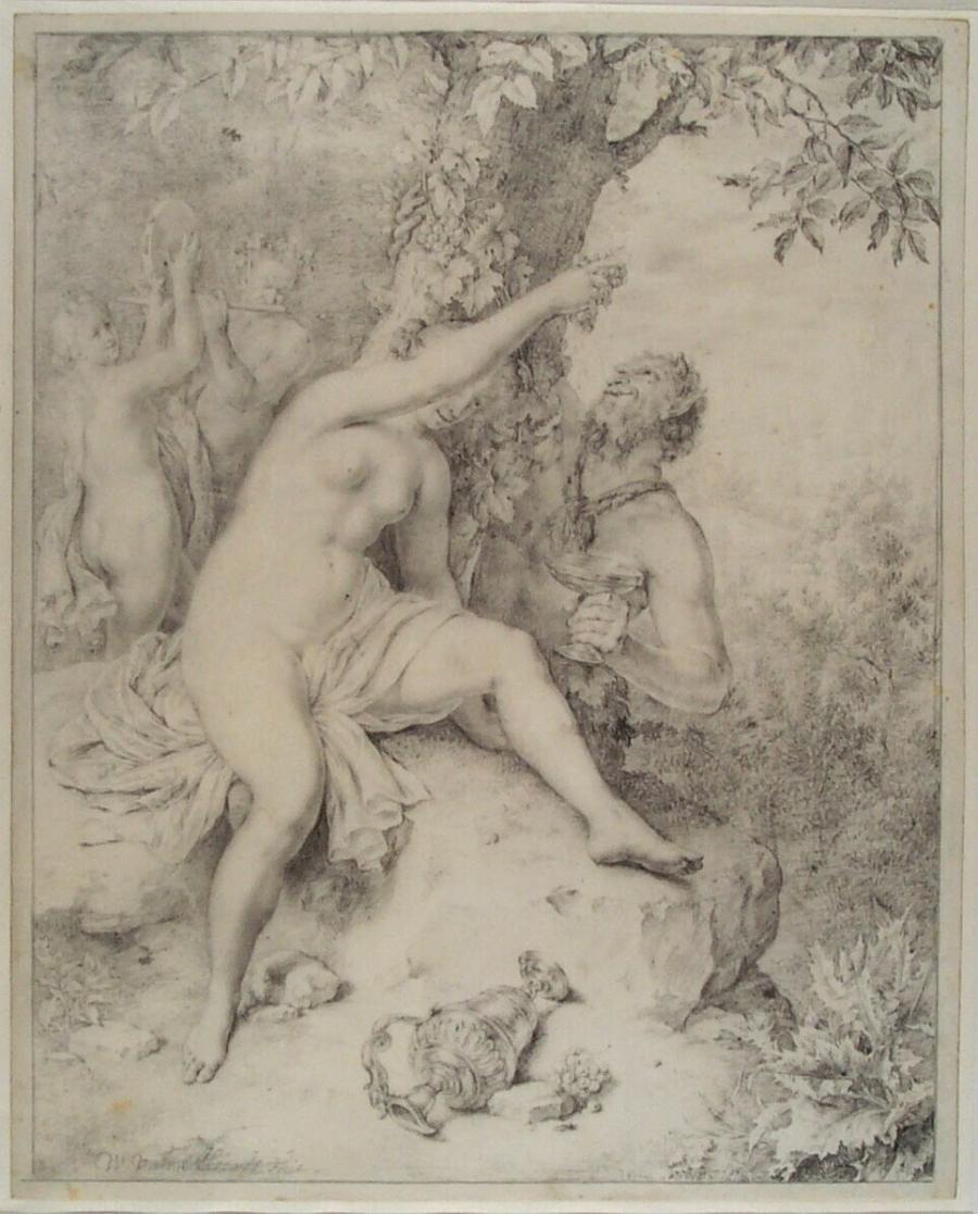 Nimf (Erigone) en satyr onder een boom